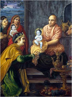 גַרְגַמוּני ערך את טקס מתן השם בחשאי, ברפת של נַנְדַה מַהָארָאגַ'ה