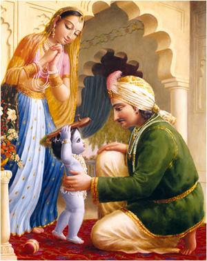 ואז במאמץ אדיר היה קרישנה מרים את קבקבי העץ על ראשו ונושא אותם לאביו