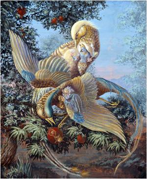 השניים שחיים על עץ הגוף משולים לשתי ציפורים
