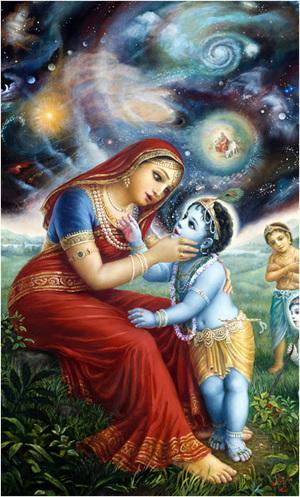 אמא יַשׂודָא ראתה בפיו של קרישנה את מלוא שיפעתה של הבריאה