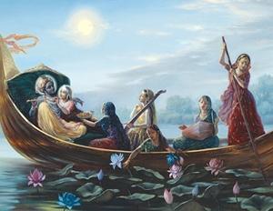 קרישנה והגופיות שטים בסירה